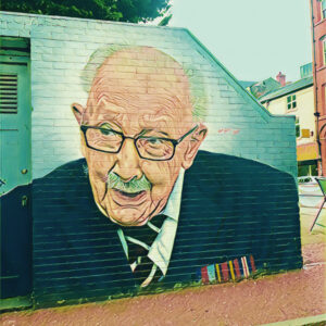 Captain Tom Moore - mural in the Northern Quarter, Manchester. Photo: Howard Lake