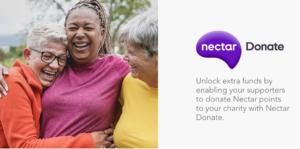 Three women hugging and laughing, advertising Nectar Donate