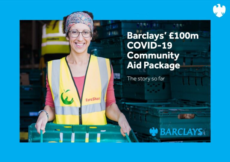 Barclays' COVID-19 Community Aid package - cover of its impact report