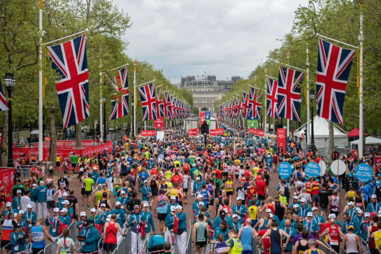 The Mall, London, packed with Virgin Money London Marathon runners