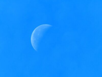 Twitter blue sky with crescent moon. Photo: Pexels and Pixabay