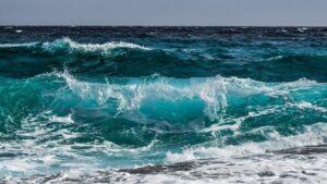 Waves in a blue ocean