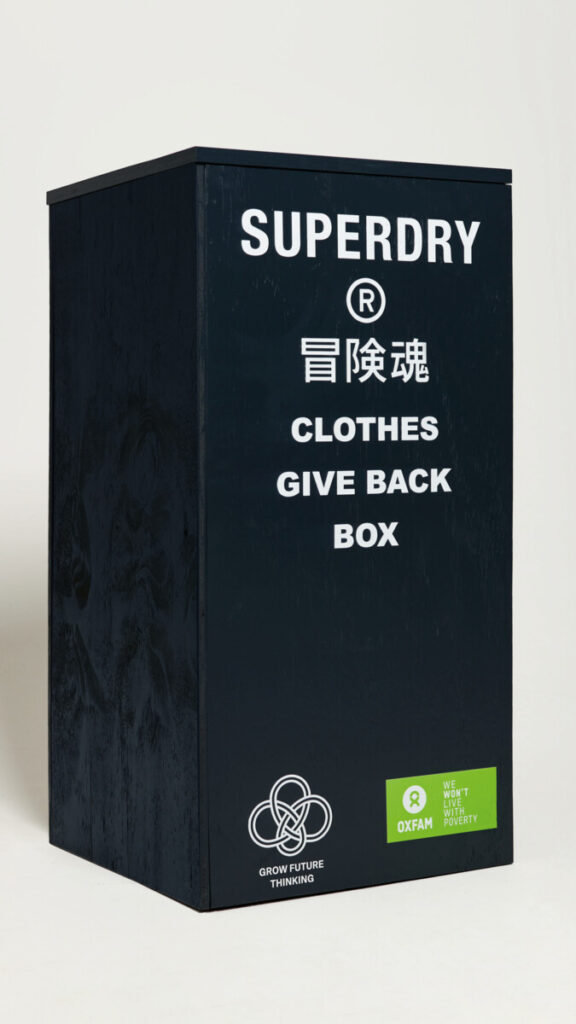 Oxfam donated clothes box to Superdry store