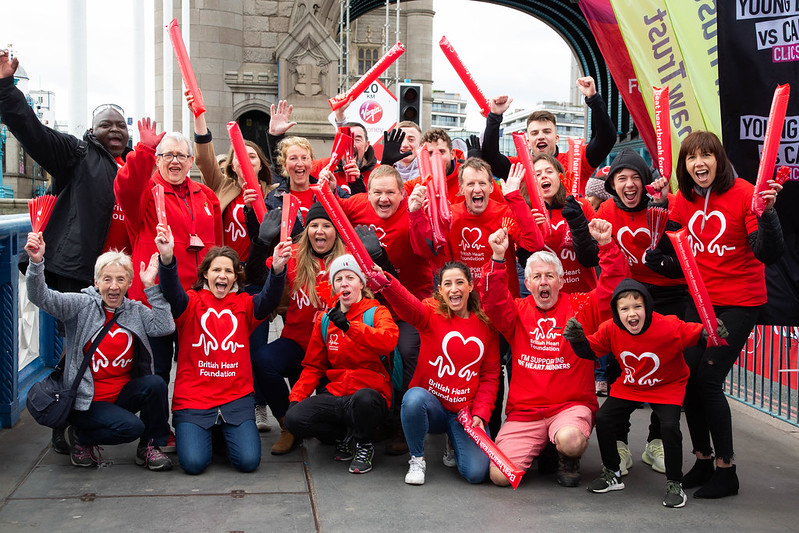 BHF supporters at Tower Bridge in the 2021 London Marathon