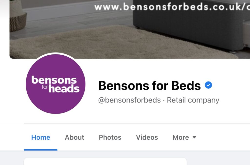 Screenshot of Bensons for Beds' Facebook page with Bensons for Heads logo.