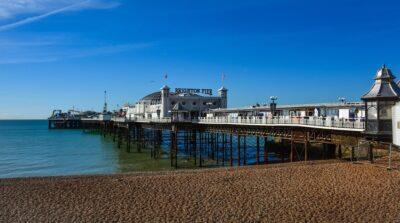 A blue sky over Brighton Pier